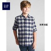 Gap男童 大方格法蘭絨長袖襯衫 370555-海軍淺藍