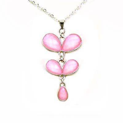 粉紅蝴蝶銀蔥項鍊