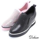 【Deluxe】全真皮閃亮水鑽鬆緊帶厚底休閒鞋(黑☆粉)