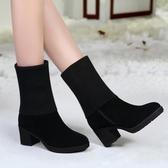 2019新款毛線靴百搭粗跟雪地靴中筒高跟兩穿女冬靴圓頭中跟短靴女