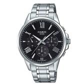 【CASIO】 條紋時尚三眼三針羅馬紳士不鏽鋼腕錶-黑面(MTP-EX300D-1A)