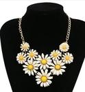 歐美時尚金屬清新小雛菊氣質誇張項鍊奢華短款璀璨花朵 花項鍊