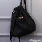 森系抽繩後背包帆布包女印花字母圖案收口簡易書包 黛尼時尚精品
