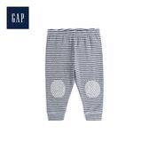 Gap男女嬰兒舒適拼貼抽繩鬆緊腰長褲494324-亮麻灰色