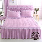 夾棉蕾絲床裙單件加厚水洗棉床罩1.5m雙人床笠1.8m席夢思防滑床裙  ~黑色地帶