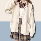 薄款外套 jk毛衣針織衫開衫女可愛甜美日系春秋薄學院風慵懶風寬鬆冬季外套-Ballet朵朵