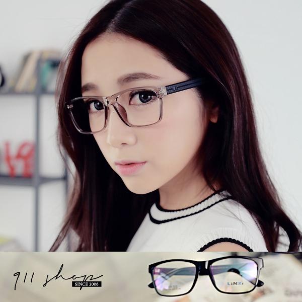 Brisk.TR90塑膠鈦大方框刻紋腳架配鏡框眼鏡【p677】*911 SHOP*