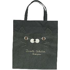 【波克貓哈日網】日本手提包◇KUSUGURU◇《黑色點點》波斯貓圖案鄉村風手提袋