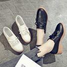 包鞋.英倫風蝴蝶結流蘇厚底皮鞋.白鳥麗子...