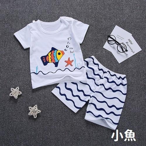 嬰兒短袖套裝 可愛卡通 棉質上衣 + 海灘短褲 寶寶童裝 HY10401 好娃娃