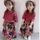夏裝新款 女童 驚豔大花闊腿 七分褲+純色短袖 兩件套裝 17126057