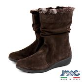 【IMAC】義大利磨砂皮革毛飾氣墊女靴  深咖啡(206261-DBR)