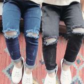 女童裝春裝破洞休閒兒童男童牛仔褲女寶寶夏季薄款褲子1-2-3-4歲  無糖工作室