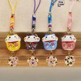 手機掛飾 日本可愛粉色櫻花鏤空鈴鐺陶瓷貓招福招財手機掛件掛飾手機鍊 玩趣3C