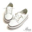 專櫃女鞋 水鑽鞋孔綁帶厚底休閒鞋-艾莉莎Alisa【2531830006】白色下單區