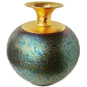 陶藝大師郭明本 璀璨繽紛聚寶盆七彩結晶釉鎏金瓶(特大-大觀瓶)大肚直徑38cm 花瓶高度4