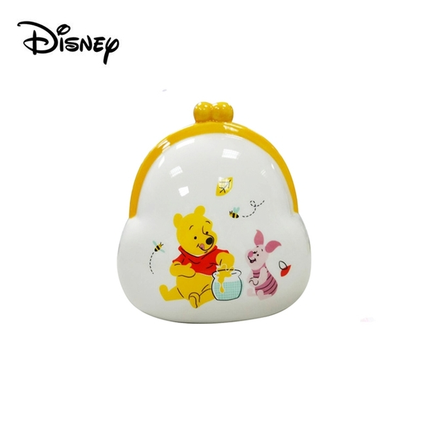 【正版授權】小熊維尼 口金包造型 陶瓷 存錢筒 儲錢筒 小費箱 維尼 小豬 Winnie 迪士尼 Disney - 003080