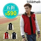 ToGetheR+【MW816】超保暖,字母造型拼接菱形內裡鋪棉接袖棒球外套(三色)