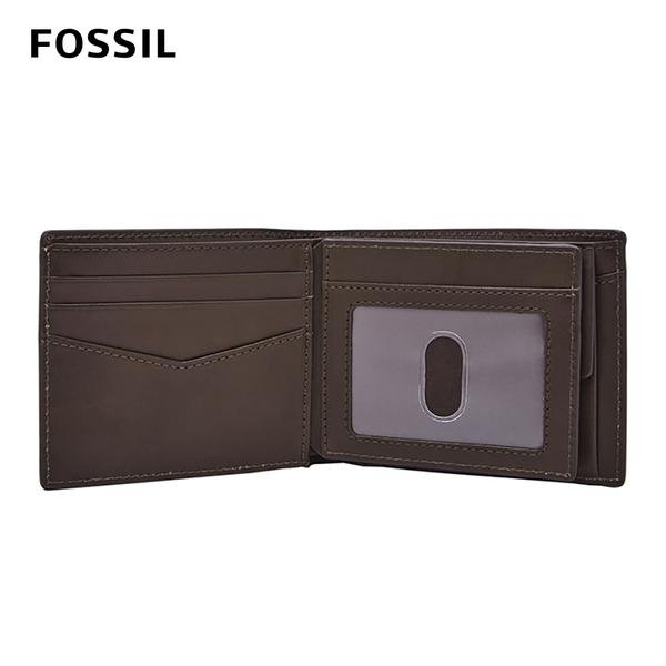 FOSSIL DARCY 真皮證件格零錢袋男夾-咖啡色 ML4097201