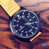 男錶歐美大錶盤時尚潮流軍事風男錶多功能防水手錶男皮帶石英軍錶 全館免運