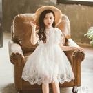 女童蕾絲洋裝鏤空短袖連身裙夏季新款韓版中...
