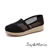 【Joy&Mario】鏤空網格厚底麻編休閒鞋 - 81063W BLACK 美碼7.5