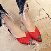 新款女鞋春單鞋高跟鞋細跟低跟涼鞋人字拖女包頭尖頭防滑拖鞋 小時光生活館