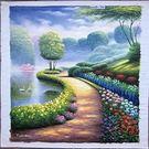 【風水油畫】花園畫1 純手繪油畫(不連框)-含運價