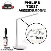 (贈衣物隨手拈把)PHILIPS 飛利浦 桌燈 72087 A級雙燈臂 LED 檯燈 環形 護眼 擺頭 檯燈 照明 公司貨