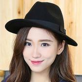 韓版潮時尚小禮帽黑色羊毛禮帽