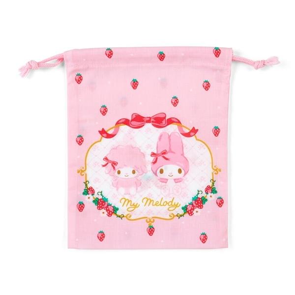 小禮堂 美樂蒂 日製 棉質束口袋 牙刷杯袋 小物袋 縮口袋 16x19cm (粉紅 草莓) 4550337-73393