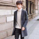 紅色毛呢大衣秋季男士中長款加厚呢子外套青年日韓潮修身純色風衣
