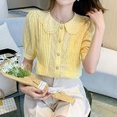 娃娃領夏季洋氣小衫女時尚百搭顯瘦復古短袖襯衫T614紅粉佳人