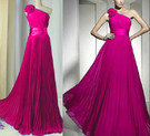 (45 Design)   新娘禮服 單肩顯瘦禮服 長款晚禮服 結婚藍色敬酒服 伴娘修身禮服