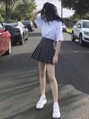 格子百褶裙女夏新款ulzzang黑色半身裙子A字高腰學院風短裙褲