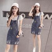 牛仔背帶裙女學生夏季矮個子減齡連身裙新款韓版寬鬆吊帶短裙快速出貨