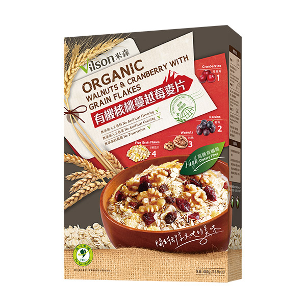 【米森】有機核桃蔓越莓麥片450g/盒