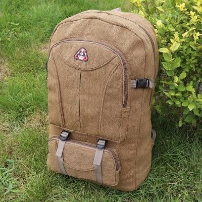 60升帆布大背包超大容量後背包男復古行李旅行背包登山包戶外 名購居家 igo