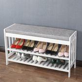 歐式白色鞋架簡易家用門口換鞋凳實木簡約