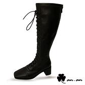 長靴 歐美率性方頭馬甲高跟長靴(黑)* an.an【18-A816-9bk】【現貨】