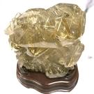 『晶鑽水晶』招財鈦晶雕刻 喜鵲節節高升 含底座約16公分 漂亮鈦晶絲 送禮物佳選