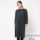 ❖ Autumn ❖ 簡約標語打印落肩圓領連身洋裝 - Sm2 BLUE