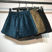 年終盛典 酷酷啦韓版高腰絲絨短褲女秋冬新款寬鬆闊腿褲子打底外穿靴褲