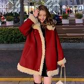 羊羔絨外套 新年紅羊羔毛外套女冬季新款韓國毛絨大衣寬松加厚棉衣棉服