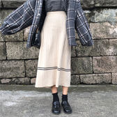 條紋針織半身裙寬鬆顯瘦中長裙高腰A字大擺裙   伊衫風尚