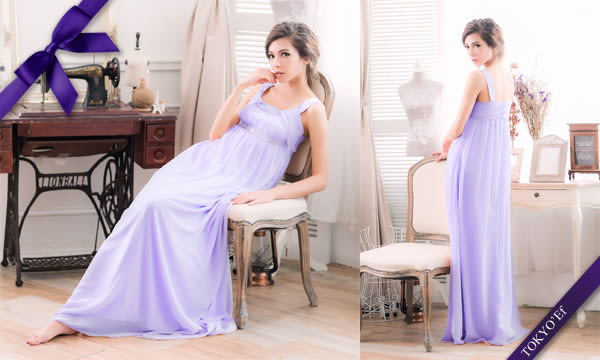 東京衣服 手工釘珠刺繡U領 高腰顯瘦長禮服 粉紫