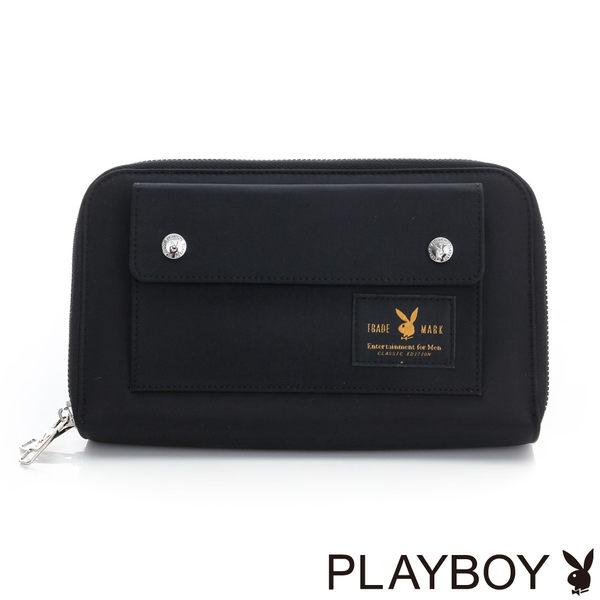 PLAYBOY- 多功能手拿包 都會輕旅系列-個性黑