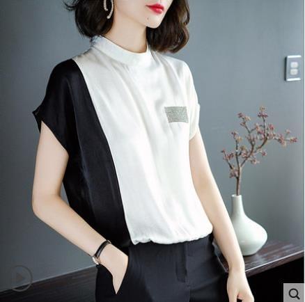 2021夏季新款立領雪紡T恤女士短袖洋氣寬鬆拼接小衫時尚百搭上衣 3C數位百貨