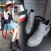中跟短靴-英倫圓頭復古防水台女馬丁靴2色73is24[時尚巴黎]