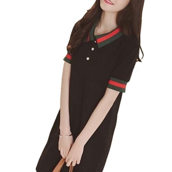 學院風polo織邊翻領休閒寬鬆顯瘦洋裝 (黑  白) 11850072